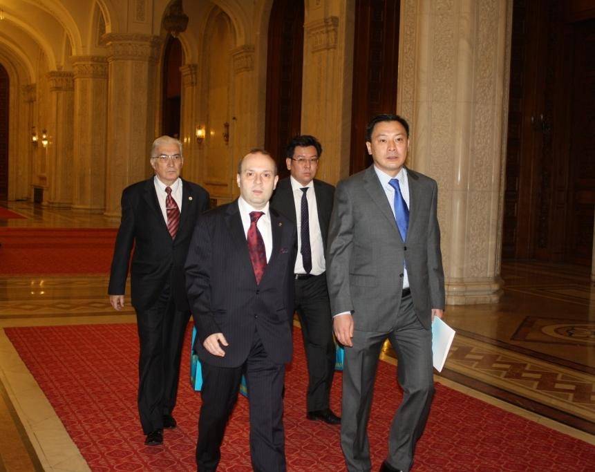 Europe`s President-Anton Caragea, H.E. Ambassador Daulet Batrashev, Yerzhan Bertayev and Academician Mircea Constantinescu